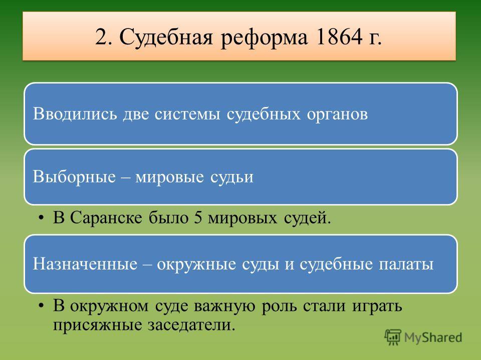 2. Судебная реформа 1864 г. Вводились две системы судебных органов Выборные – мировые судьи В Саранске было 5 мировых судей. Назначенные – окружные суды и судебные палаты В окружном суде важную роль стали играть присяжные заседатели.