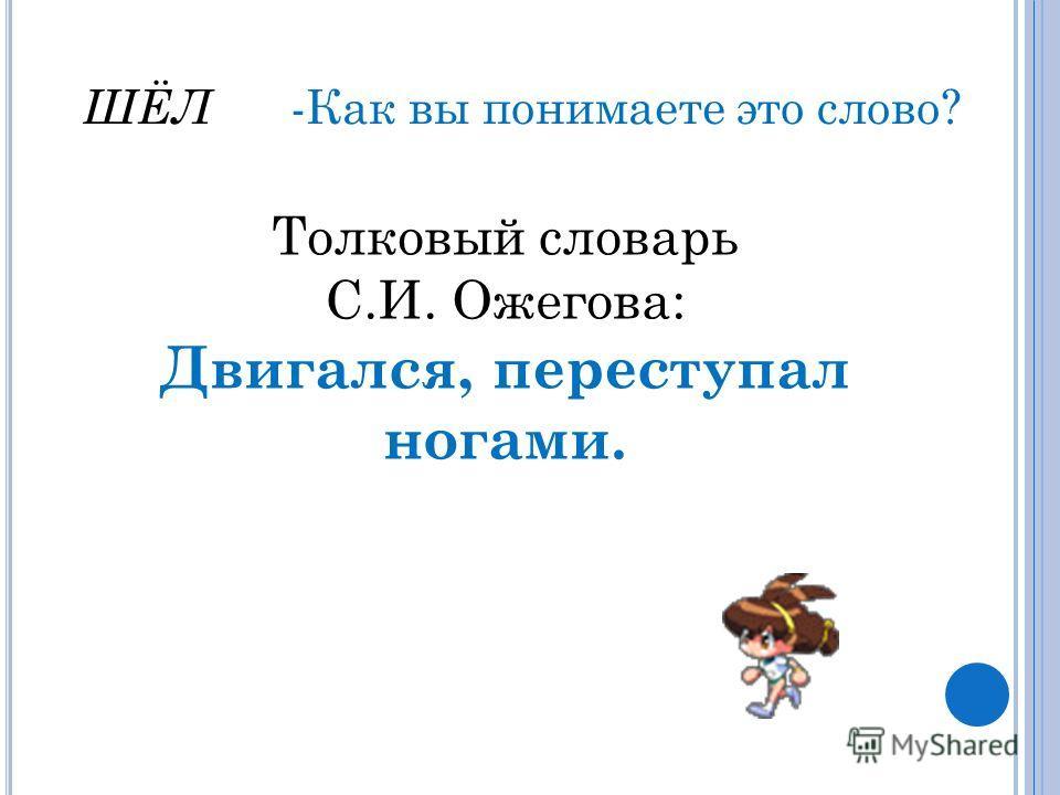 ШЁЛ -Как вы понимаете это слово? Толковый словарь С.И. Ожегова: Двигался, переступал ногами.