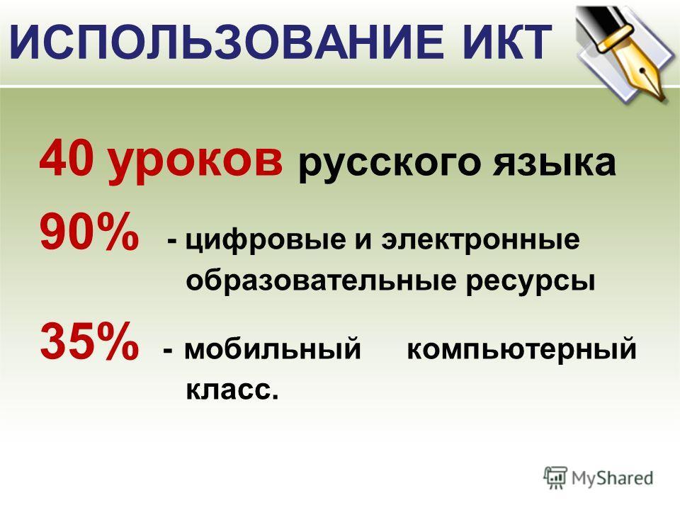 ИСПОЛЬЗОВАНИЕ ИКТ 40 уроков русского языка 90% - цифровые и электронные образовательные ресурсы 35% - мобильный компьютерный класс.