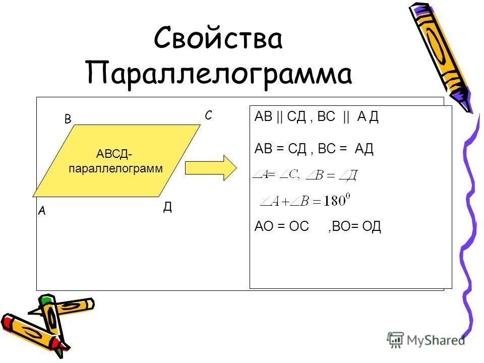 Свойства Параллелограмма АВСД- параллелограмм АВ || CД, ВС || А Д АВ = СД, ВС = АД АО = ОС,ВО= ОД А В С Д