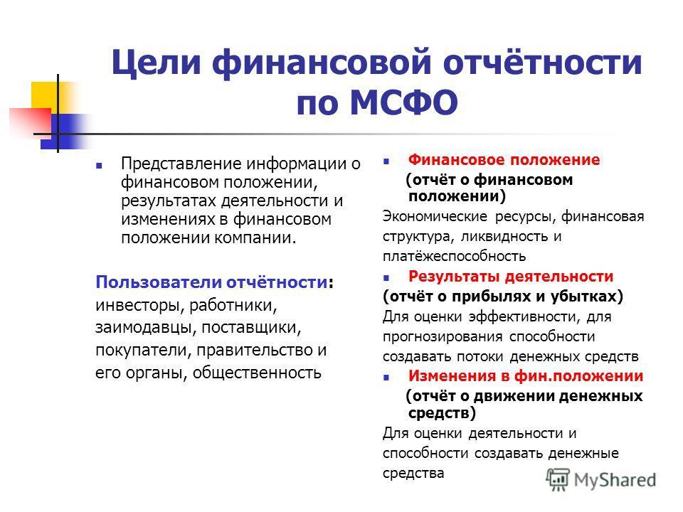 Цели финансовой отчётности по МСФО Представление информации о финансовом положении, результатах деятельности и изменениях в финансовом положении компании. Пользователи отчётности: инвесторы, работники, заимодавцы, поставщики, покупатели, правительств
