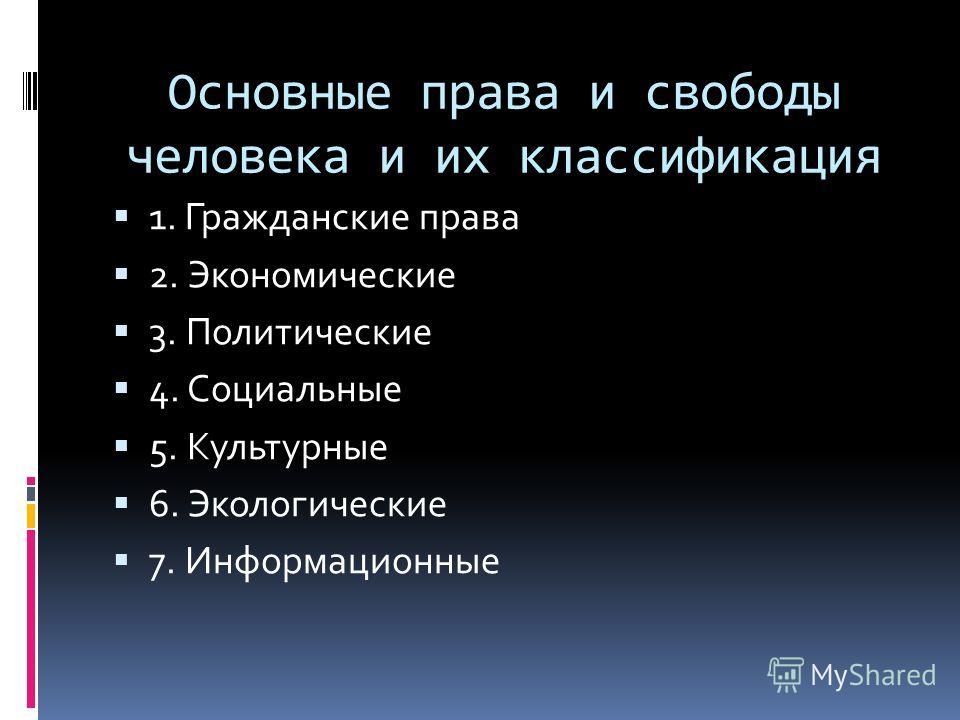 Основные права и свободы человека и их классификация 1. Гражданские права 2. Экономические 3. Политические 4. Социальные 5. Культурные 6. Экологические 7. Информационные