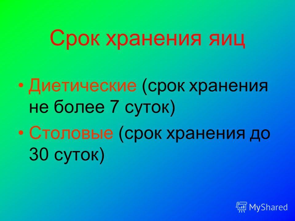 Срок хранения яиц Диетические (срок хранения не более 7 суток) Столовые (срок хранения до 30 суток)