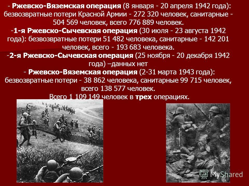 - Ржевско-Вяземская операция (8 января - 20 апреля 1942 года): безвозвратные потери Красной Армии - 272 320 человек, санитарные - 504 569 человек, всего 776 889 человек. -1-я Ржевско-Сычевская операция (30 июля - 23 августа 1942 года): безвозвратные