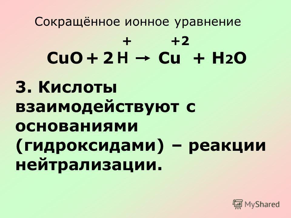Сокращённое ионное уравнение CuО+ H Cu+H2OH2O ++2 2 3. Кислоты взаимодействуют с основаниями (гидроксидами) – реакции нейтрализации.