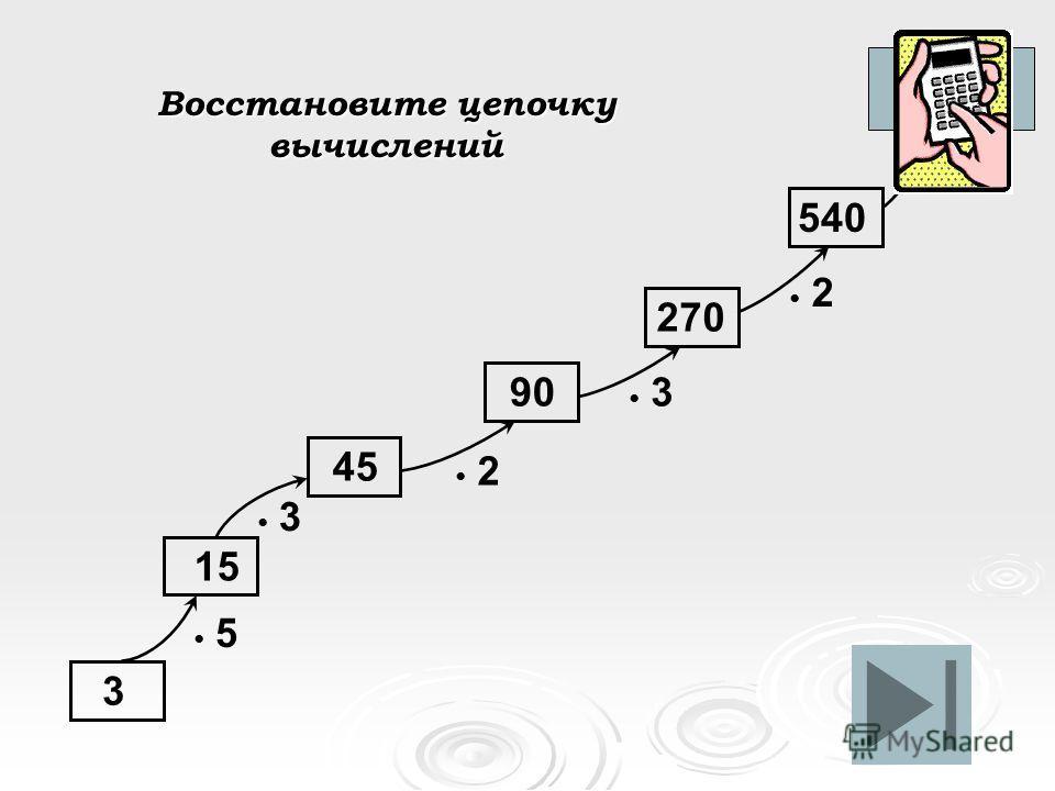 Восстановите цепочку вычислений 15 3 5 3 2 3 2. 5 45 90 270 540 2700