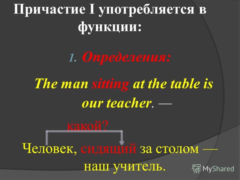 Причастие I употребляется в функции: 1. Определения: The man sitting at the table is our teacher. какой? Человек, сидящий за столом наш учитель.