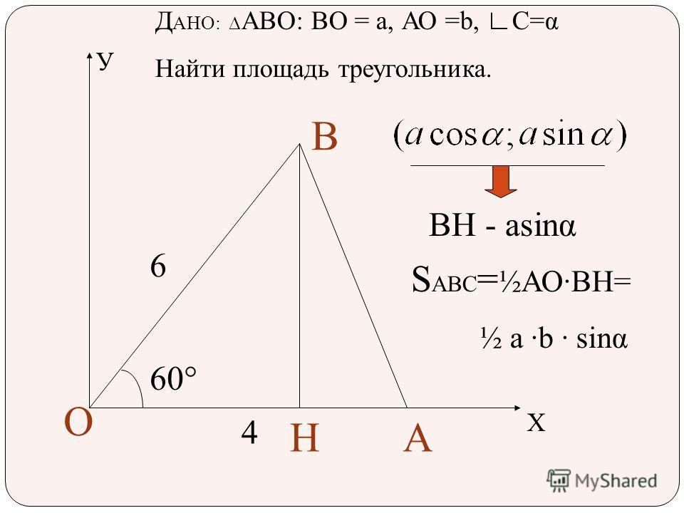 У Х А В О Н 60°60° 6 4 Д АНО: АВО: ВО = а, АО =b, С=α Найти площадь треугольника. ВН - аsinα S ABC = ½АОВН= ½ а b sinα
