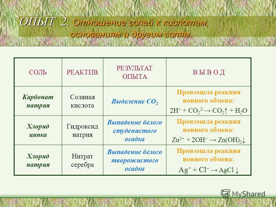 СОЛЬРЕАКТИВ РЕЗУЛЬТАТ ОПЫТА В Ы В О Д Карбонат натрия Соляная кислота Выделение СО 2 Произошла реакция ионного обмена: 2H + + CO 2 2- CO 2 + H 2 O Хлорид цинка Гидроксид натрия Выпадение белого студенистого осадка Произошла реакция ионного обмена: Zn