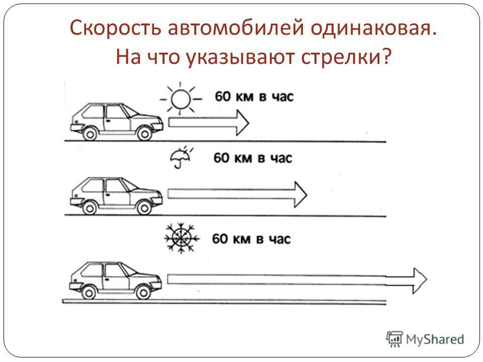 Скорость автомобилей одинаковая. На что указывают стрелки ?
