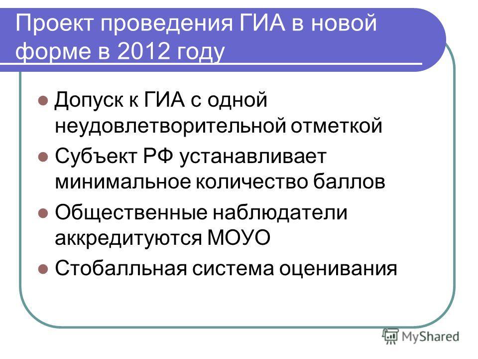 Проект проведения ГИА в новой форме в 2012 году Допуск к ГИА с одной неудовлетворительной отметкой Субъект РФ устанавливает минимальное количество баллов Общественные наблюдатели аккредитуются МОУО Стобалльная система оценивания