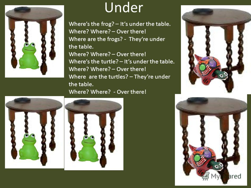 Under Wheres the frog? – Its under the table. Where? Where? – Over there! Where are the frogs? - Theyre under the table. Where? Where? – Over there! Wheres the turtle? – Its under the table. Where? Where? – Over there! Where are the turtles? – Theyre