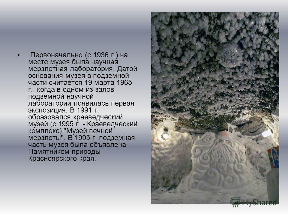 Первоначально (с 1936 г.) на месте музея была научная мерзлотная лаборатория. Датой основания музея в подземной части считается 19 марта 1965 г., когда в одном из залов подземной научной лаборатории появилась первая экспозиция. В 1991 г. образовался