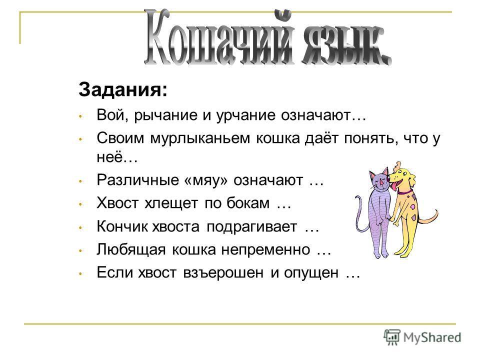 Задания: Вой, рычание и урчание означают… Своим мурлыканьем кошка даёт понять, что у неё… Различные «мяу» означают … Хвост хлещет по бокам … Кончик хвоста подрагивает … Любящая кошка непременно … Если хвост взъерошен и опущен …