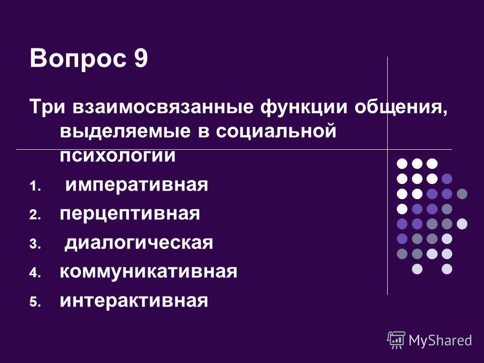 Вопрос 9 Три взаимосвязанные функции общения, выделяемые в социальной психологии 1. императивная 2. перцептивная 3. диалогическая 4. коммуникативная 5. интерактивная
