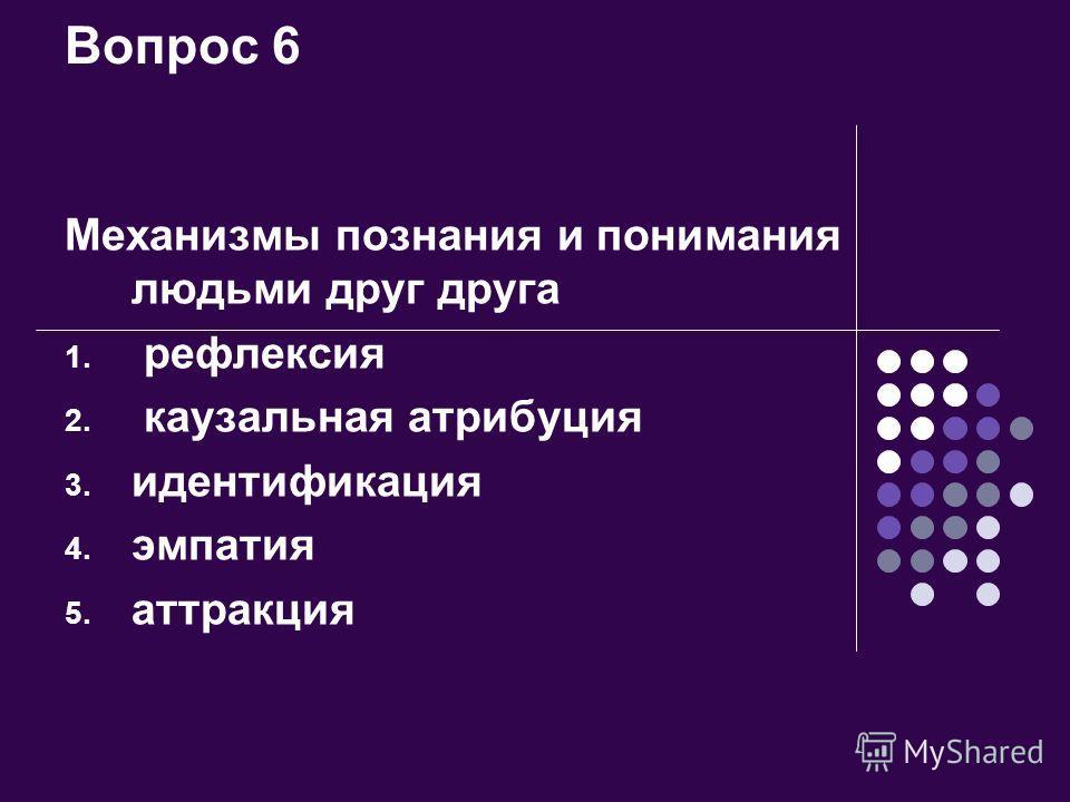 Вопрос 6 Механизмы познания и понимания людьми друг друга 1. рефлексия 2. каузальная атрибуция 3. идентификация 4. эмпатия 5. аттракция