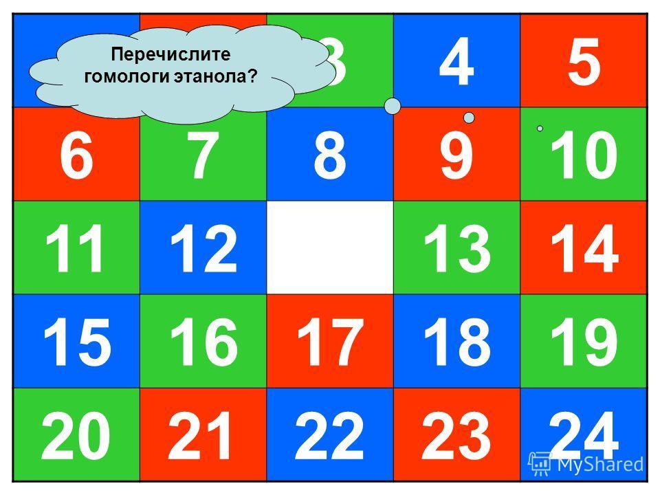 12345 678910 11121314 1516171819 2021222324 Перечислите гомологи этанола?