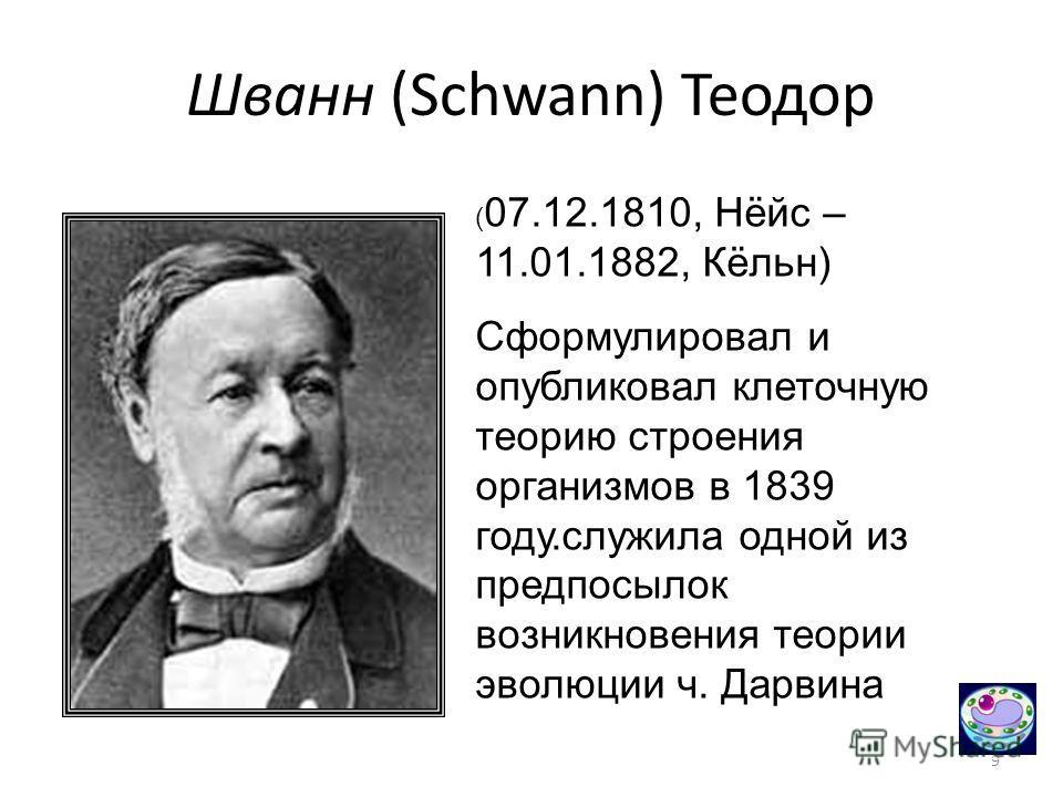 9 Шванн (Schwann) Теодор ( 07.12.1810, Нёйс – 11.01.1882, Кёльн) Сформулировал и опубликовал клеточную теорию строения организмов в 1839 году.служила одной из предпосылок возникновения теории эволюции ч. Дарвина