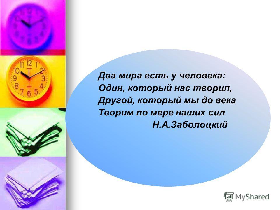 Два мира есть у человека: Один, который нас творил, Другой, который мы до века Творим по мере наших сил Н.А.Заболоцкий