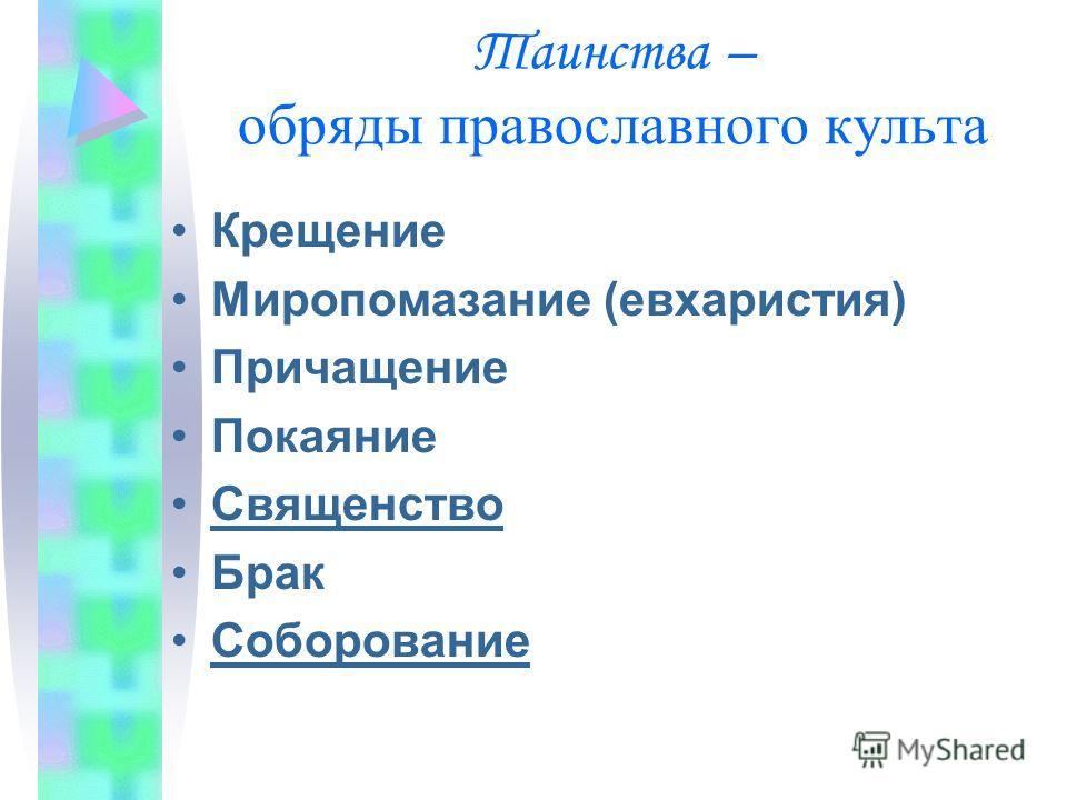 Таинства – обряды православного культа Крещение Миропомазание (евхаристия) Причащение Покаяние Священство Брак Соборование