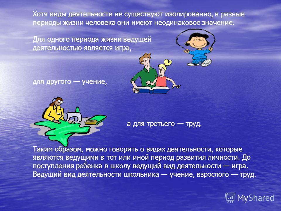 Хотя виды деятельности не существуют изолированно, в разные периоды жизни человека они имеют неодинаковое значение. Для одного периода жизни ведущей деятельностью является игра, для другого учение, а для третьего труд. Таким образом, можно говорить о