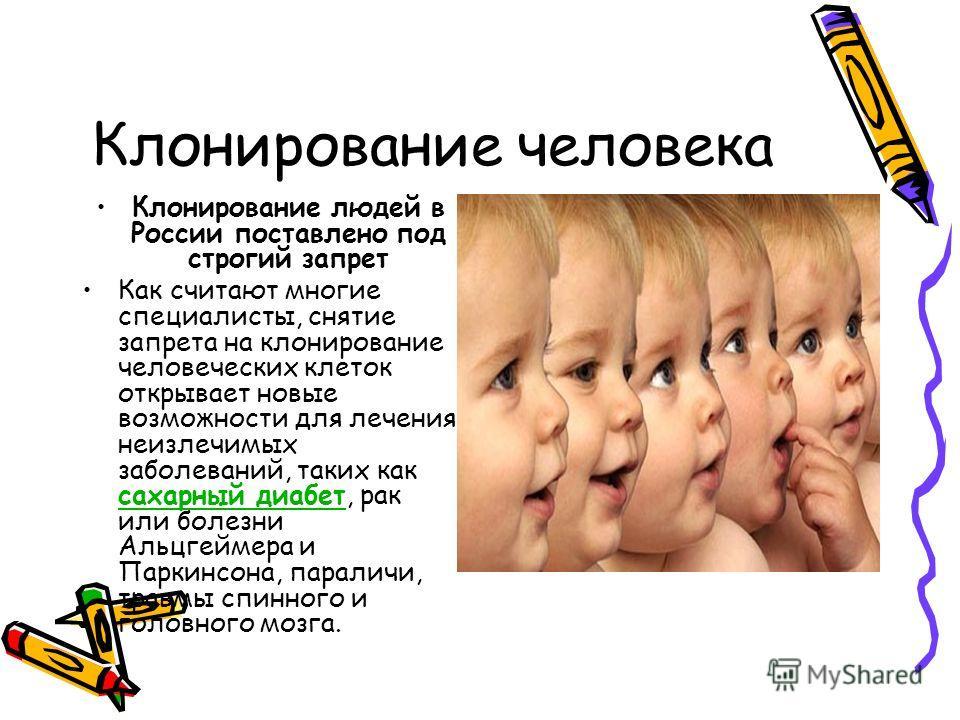 Клонирование человека Клонирование людей в России поставлено под строгий запрет Как считают многие специалисты, снятие запрета на клонирование человеческих клеток открывает новые возможности для лечения неизлечимых заболеваний, таких как сахарный диа