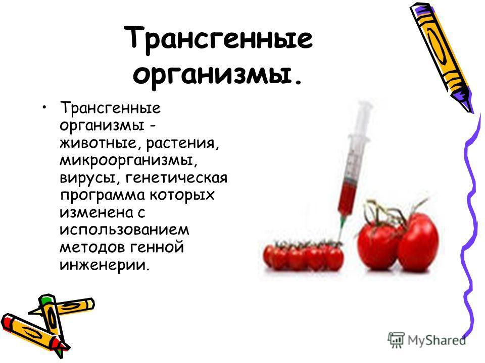 Трансгенные организмы. Трансгенные организмы - животные, растения, микроорганизмы, вирусы, генетическая программа которых изменена с использованием методов генной инженерии.