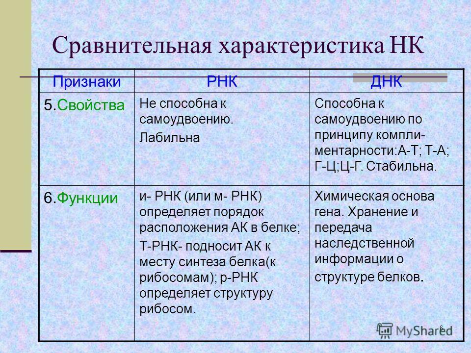 5 Сравнительная характеристика НК ПризнакиРНКДНК 4.Состав нуклеотида 1.Азотистое основание (А-аденин, У-урацил, Г-гуанин,Ц-цитозин). 2.Углевод рибоза 3.Остаток фосфорной кислоты 1.Азотистое основание (А-аденин, Т-тимин, Г-гуанин,Ц-цитозин). 2.Углевод