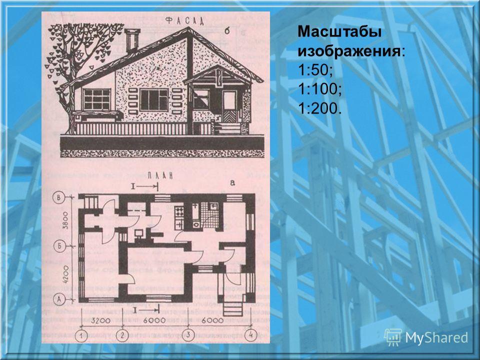 Масштабы изображения: 1:50; 1:100; 1:200.