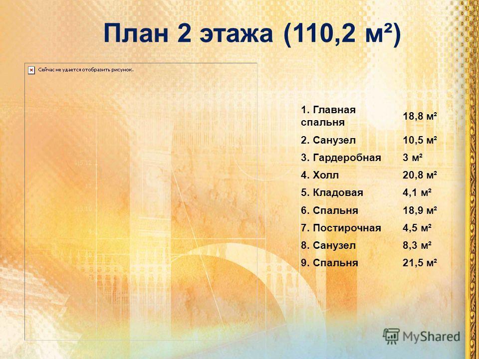 План 2 этажа (110,2 м²) 1. Главная спальня 18,8 м² 2. Санузел10,5 м² 3. Гардеробная3 м² 4. Холл20,8 м² 5. Кладовая4,1 м² 6. Спальня18,9 м² 7. Постирочная4,5 м² 8. Санузел8,3 м² 9. Спальня21,5 м²