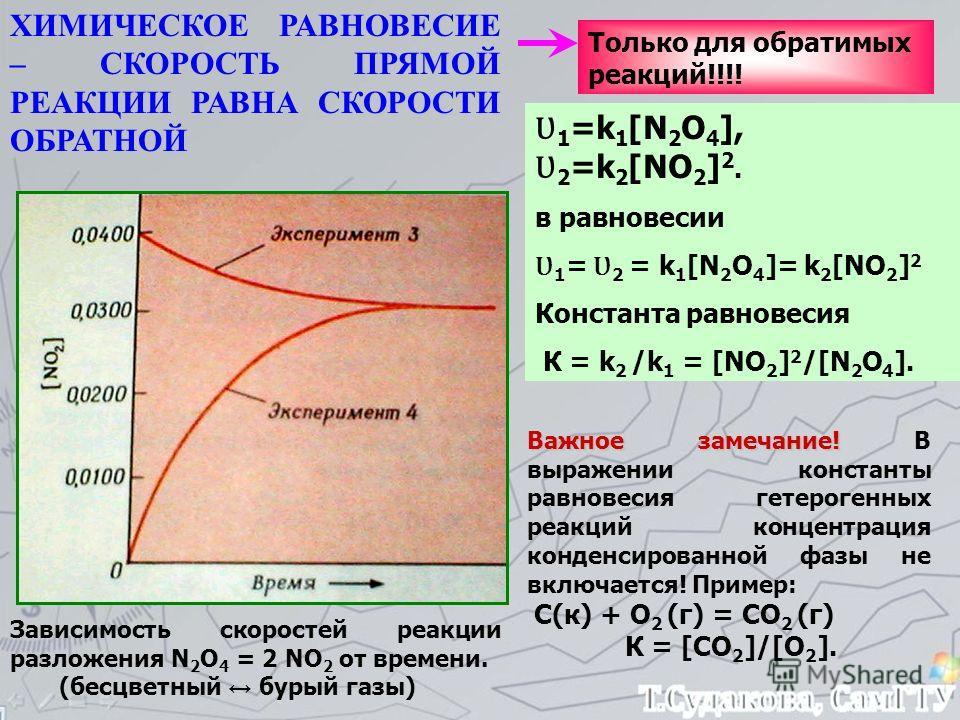 Зависимость скоростей реакции разложения N 2 О 4 = 2 NО 2 от времени. (бесцветный бурый газы) ХИМИЧЕСКОЕ РАВНОВЕСИЕ – СКОРОСТЬ ПРЯМОЙ РЕАКЦИИ РАВНА СКОРОСТИ ОБРАТНОЙ Только для обратимых реакций!!!! Ʋ 1 =k 1 [N 2 О 4 ], Ʋ 2 =k 2 [NО 2 ] 2. в равновес