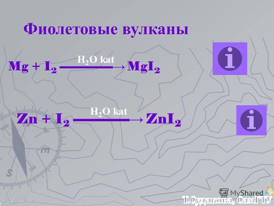 Фиолетовые вулканы Mg + I 2 -------------------- MgI 2 Zn + I 2 ------------------- ZnI 2 H 2 O kat