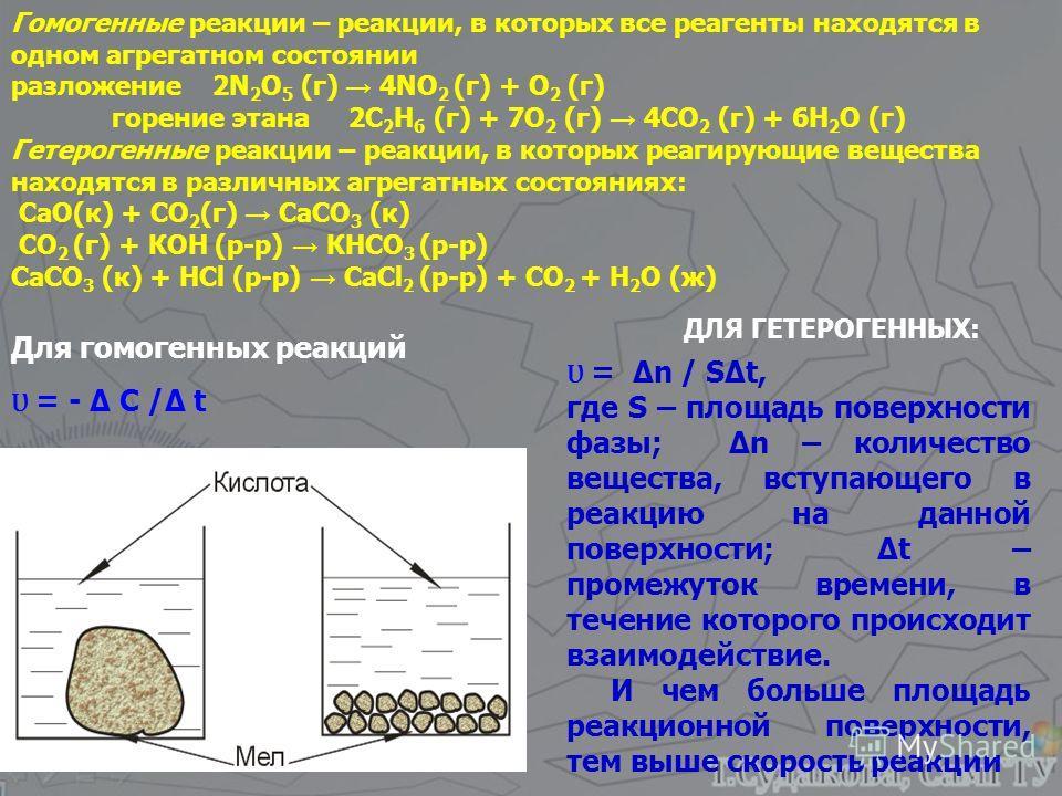 Гомогенные реакции – реакции, в которых все реагенты находятся в одном агрегатном состоянии разложение 2N 2 O 5 (г) 4NO 2 (г) + O 2 (г) горение этана 2C 2 H 6 (г) + 7O 2 (г) 4CO 2 (г) + 6H 2 O (г) Гетерогенные реакции – реакции, в которых реагирующие