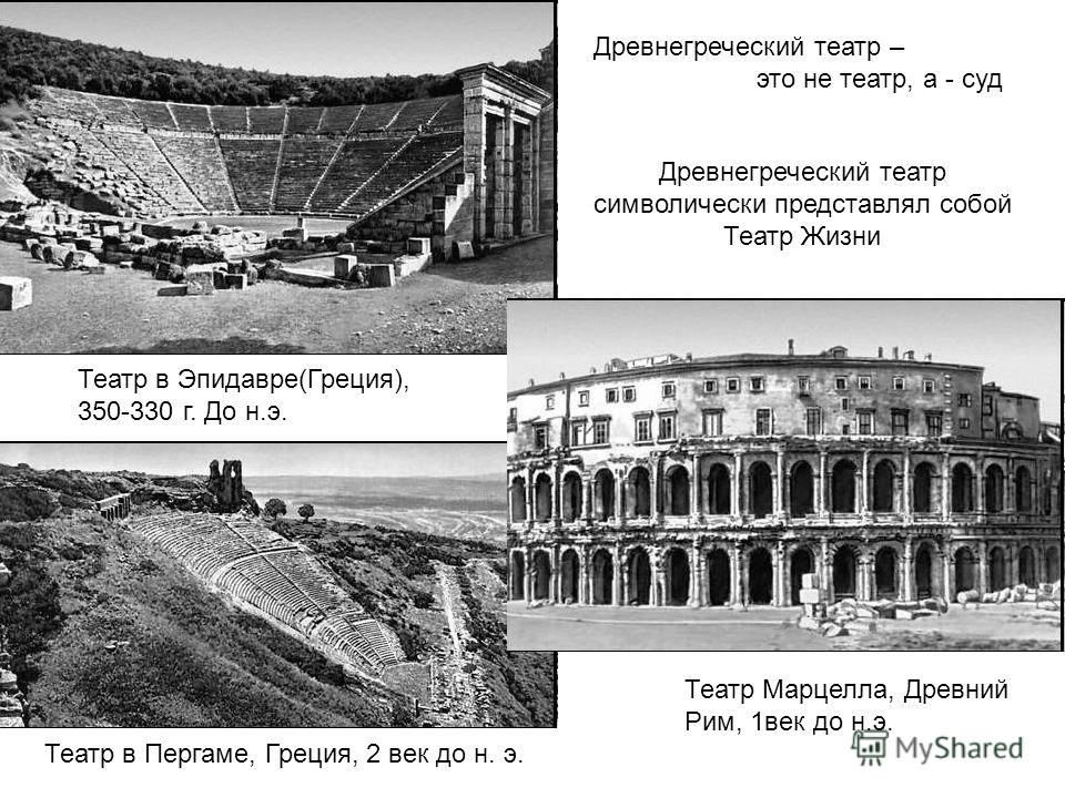 Древнегреческий театр – это не театр, а - суд Театр в Пергаме, Греция, 2 век до н. э. Театр в Эпидавре(Греция), 350-330 г. До н.э. Театр Марцелла, Древний Рим, 1век до н.э. Древнегреческий театр символически представлял собой Театр Жизни