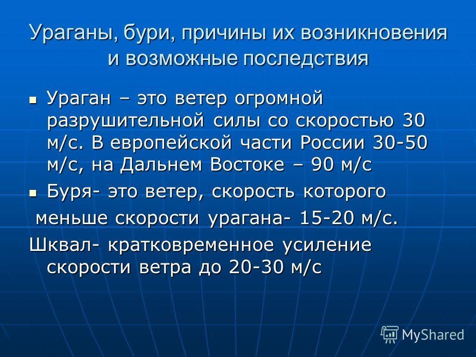 Ураганы, бури, причины их возникновения и возможные последствия Ураган – это ветер огромной разрушительной силы со скоростью 30 м/с. В европейской части России 30-50 м/с, на Дальнем Востоке – 90 м/с Ураган – это ветер огромной разрушительной силы со