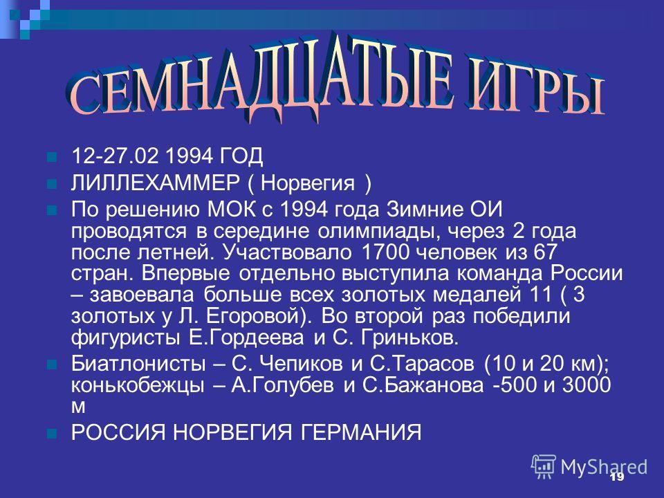19 12-27.02 1994 ГОД ЛИЛЛЕХАММЕР ( Норвегия ) По решению МОК с 1994 года Зимние ОИ проводятся в середине олимпиады, через 2 года после летней. Участвовало 1700 человек из 67 стран. Впервые отдельно выступила команда России – завоевала больше всех зол
