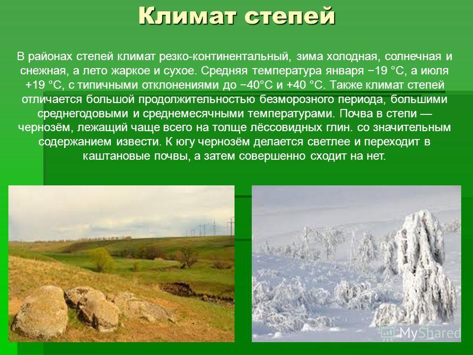 В районах степей климат резко-континентальный, зима холодная, солнечная и снежная, а лето жаркое и сухое. Средняя температура января 19 °C, а июля +19 °C, с типичными отклонениями до 40°C и +40 °C. Также климат степей отличается большой продолжительн