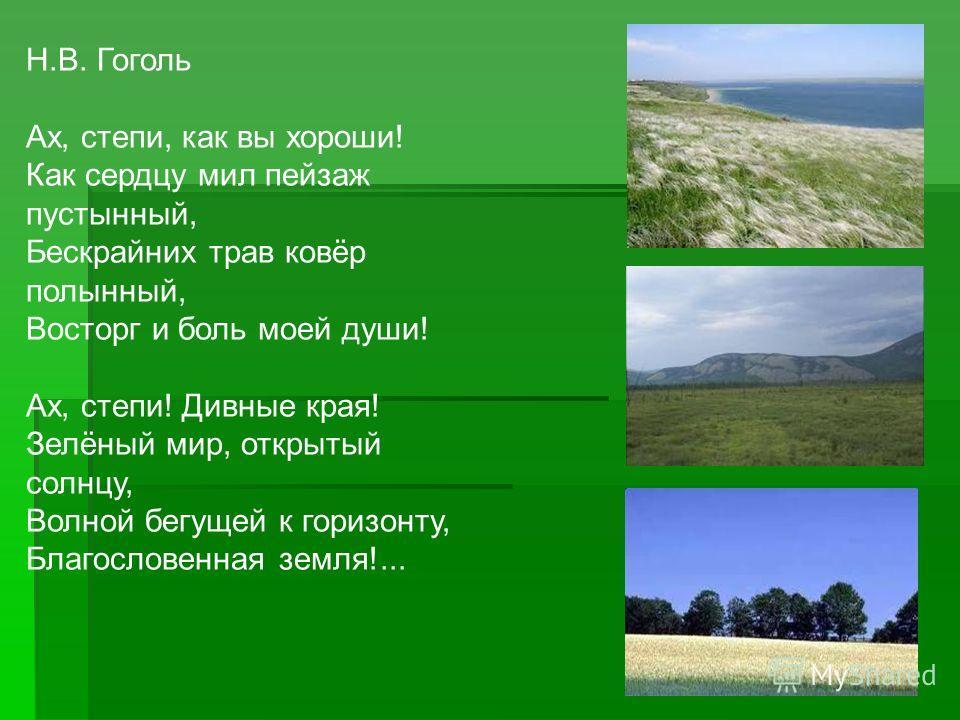 Н.В. Гоголь Ах, степи, как вы хороши! Как сердцу мил пейзаж пустынный, Бескрайних трав ковёр полынный, Восторг и боль моей души! Ах, степи! Дивные края! Зелёный мир, открытый солнцу, Волной бегущей к горизонту, Благословенная земля!...