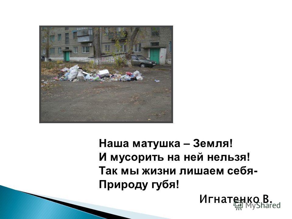 Наша матушка – Земля! И мусорить на ней нельзя! Так мы жизни лишаем себя- Природу губя! Игнатенко В.