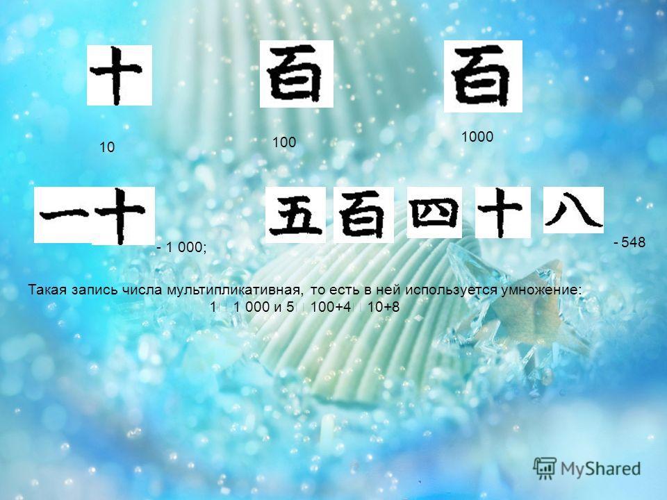 10 100 1000 - 1 000; - 548 Такая запись числа мультипликативная, то есть в ней используется умножение: 1 1 000 и 5 100+4 10+8