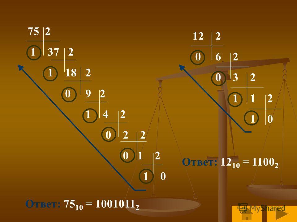 75 2 1 37 2 1 18 2 0 9 2 1 4 2 0 2 2 0 1 2 1 0 Ответ: 75 10 = 1001011 2 12 2 0 6 2 0 3 2 1 1 2 1 0 Ответ: 12 10 = 1100 2