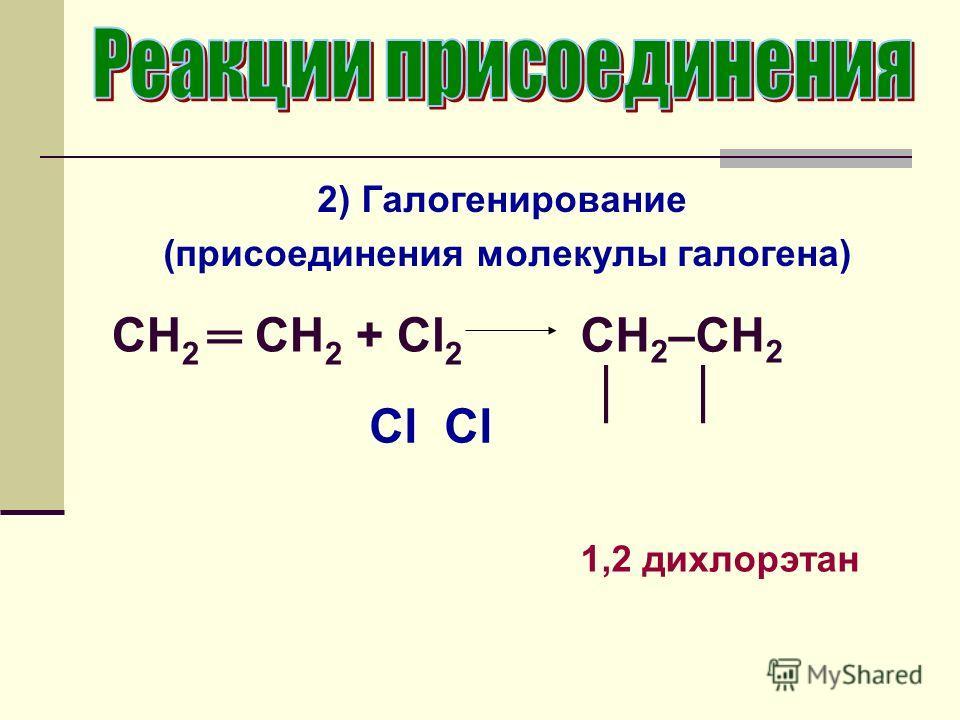 2) Галогенирование (присоединения молекулы галогена) CH 2 CH 2 + Cl 2 CH 2 –CH 2 1,2 дихлорэтан Cl