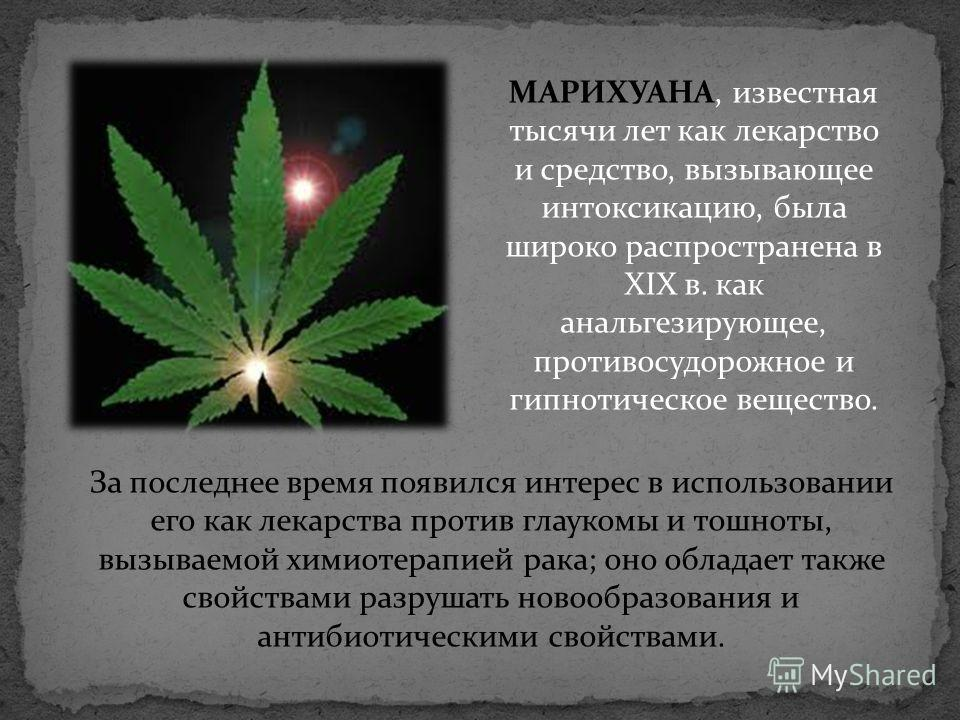 МАРИХУАНА, известная тысячи лет как лекарство и средство, вызывающее интоксикацию, была широко распространена в XIX в. как анальгезирующее, противосудорожное и гипнотическое вещество. За последнее время появился интерес в использовании его как лекарс