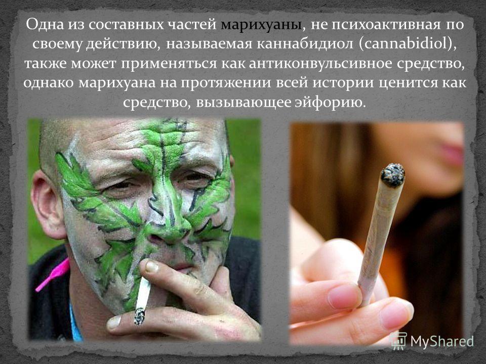 Одна из составных частей марихуаны, не психоактивная по своему действию, называемая каннабидиол (cannabidiol), также может применяться как антиконвульсивное средство, однако марихуана на протяжении всей истории ценится как средство, вызывающее эйфори