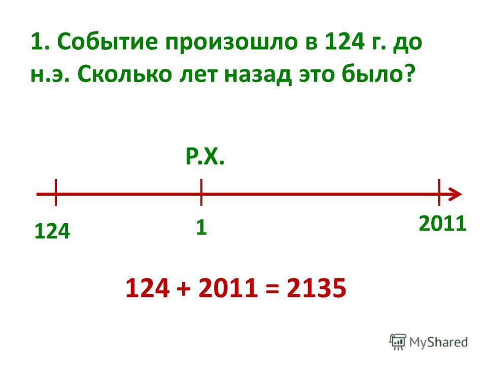 1. Событие произошло в 124 г. до н.э. Сколько лет назад это было? 1 Р.Х. 124 2011 124 + 2011 = 2135