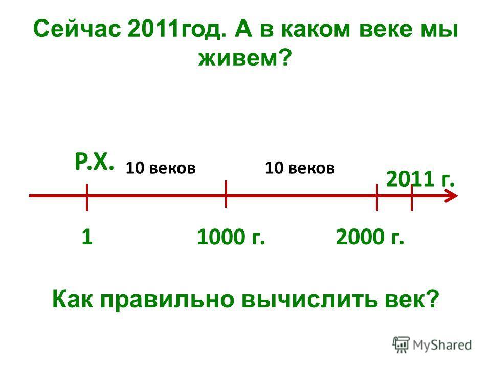 Сейчас 2011год. А в каком веке мы живем? Как правильно вычислить век? 1 1000 г. Р.Х. 2000 г. 10 веков 2011 г.