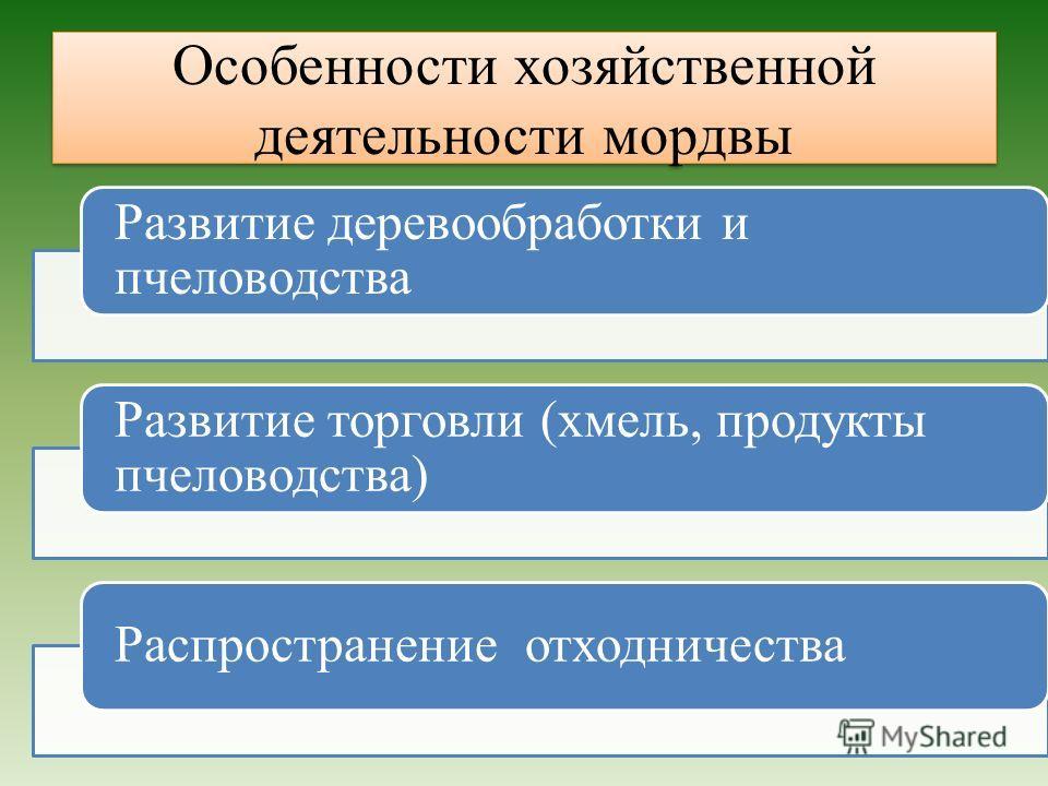 Особенности хозяйственной деятельности мордвы Развитие деревообработки и пчеловодства Развитие торговли (хмель, продукты пчеловодства) Распространение отходничества
