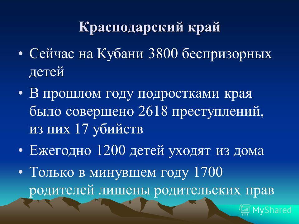 Краснодарский край Сейчас на Кубани 3800 беспризорных детей В прошлом году подростками края было совершено 2618 преступлений, из них 17 убийств Ежегодно 1200 детей уходят из дома Только в минувшем году 1700 родителей лишены родительских прав