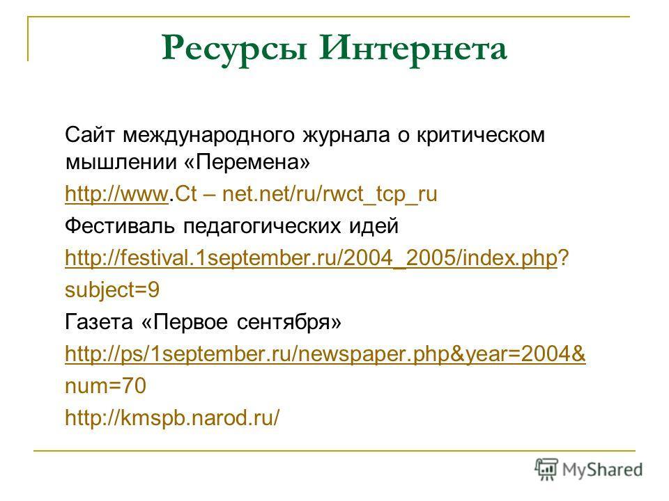 Ресурсы Интернета Сайт международного журнала о критическом мышлении «Перемена» http://www.Ct – net.net/ru/rwct_tcp_ruhttp://www Фестиваль педагогических идей http://festival.1september.ru/2004_2005/index.php?http://festival.1september.ru/2004_2005/i