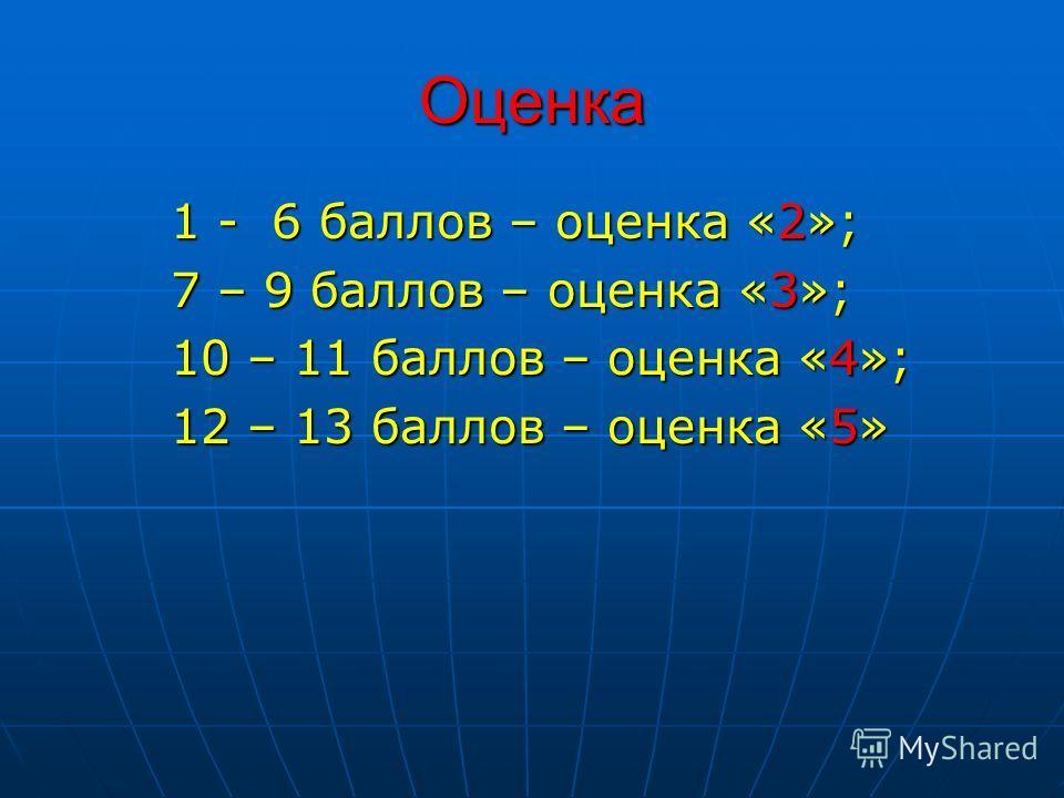 Оценка 1 - 6 баллов – оценка «2»; 7 – 9 баллов – оценка «3»; 10 – 11 баллов – оценка «4»; 12 – 13 баллов – оценка «5»